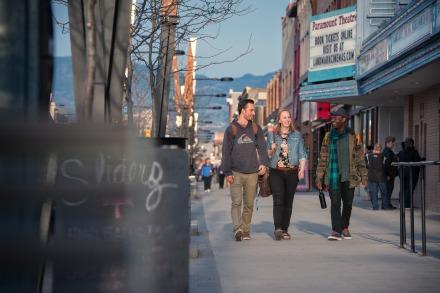 UBCO students walking in downtown Kelowna