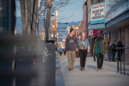 UBCO students walking in downtown Kelowna